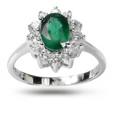 925 Silver Oval Cut Emerald and Cubic Zirconia Ring