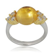 Sterling Silver Round Genuine Citrine and Cubic Zirconia Ring