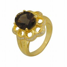 Gold over Silver Oval Gemstone Ring