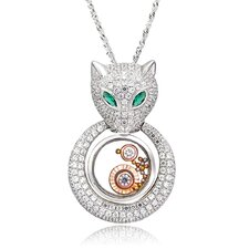 Sterling Silver Cubic Zirconia and Crystal Fox Necklace