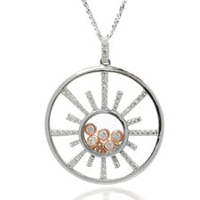 Sterling Silver Cubic Zirconia and Crystal Sun Necklace