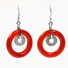Round Cut Agate Drop Earrings