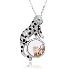 Two-Tone Sterling Silver Leopard Gemstone Necklace