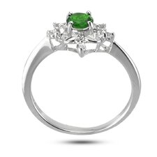Sterling Silver Round Cut Gemstone Ring