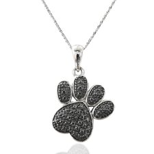 <strong>DeBuman</strong> Sterling Silver Black Diamond Footmark Necklace