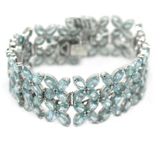 <strong>DeBuman</strong> Flower Natural Blue Zircon Link Bracelet