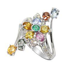 White Gold Oval Cut Gemstone Ring