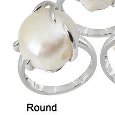 Sterling Silver Natural Cultured Pearl Ring