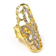 <strong>Amrita Singh</strong> Gold Tone Brass Crystal Grizzly Ring