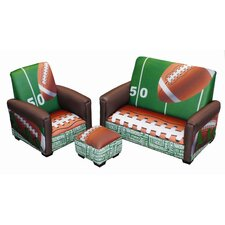 <strong>Newco Kids</strong> Football 50 yard Line Toddler Club Sofa, Chair and Ottoman Set