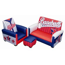 Baseball All Star Toddler Sofa, Chair and Ottoman Set