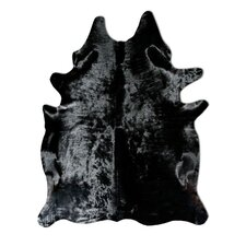 Natural Cowhide Solid Black Rug