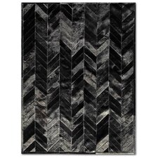 <strong>Pure Rugs</strong> Patchwork Cowhide Yves Black Rug
