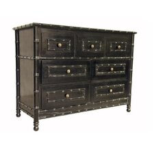 Bamboo 7 Drawer, Hand Rubbed Black Dresser
