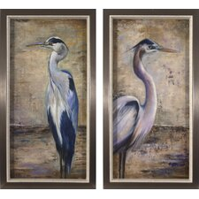 Coastal Shell Blue Heron 2 Piece Framed Painting Print Set