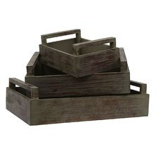 3 Piece Wooden Tray Set