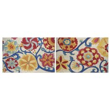 Contemporary Floral Suzani Splendor Import 2 Piece Graphic Art on Canvas Set