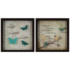 Inspirational Bird Live Laugh Love 2 Piece Framed Graphic Art
