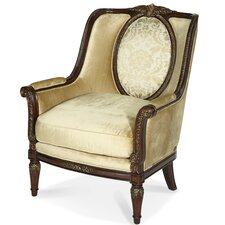 <strong>Michael Amini</strong> Imperial Court Wood Trim Arm Chair