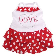 <strong>Klippo Pet</strong> Adorable Dog Sundress with Sparkling Rhinestones and Hearts