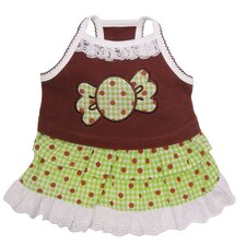 "<strong>Klippo Pet</strong> Adorable ""Chocolate Mint Candy"" Dog Sundress with Lace Trims"