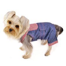 <strong>Klippo Pet</strong> Adorable Country Denim Overall with Checkered Pattern
