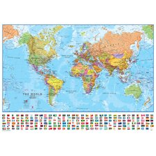<strong>Lovell Johns</strong> World with Flags 1:40 Laminated Wall Map
