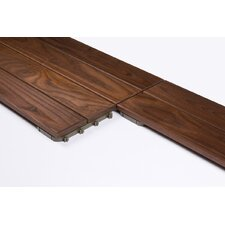 "Wood 23.425"" x 7.835"" Interlocking Deck Tiles in Brown"