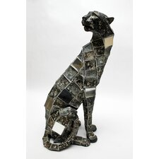 Mosaic Animal Leopard Sitting Statue