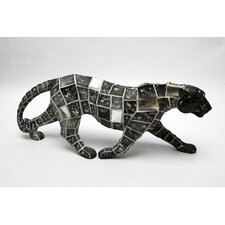 Mosaic Animal Leopard Walking Statue