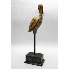 Shore Bird Crane Statue with Base