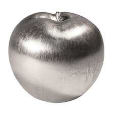 Brushed Silver Resin Apple Sculpture