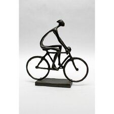 Man Pedaling Bike Cast Iron Statue