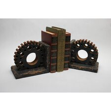 Gear Wooden Bookends (Set of 2)