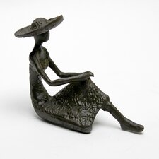 Woman in Hat Seated Cast Iron Statue