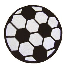 Abacasa Kids Soccer Black/White Area Rug