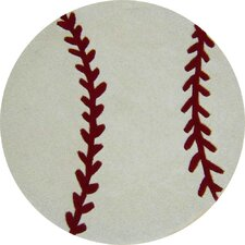 Abacasa Kids Baseball White/Red Area Rug