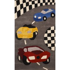 Abacasa Kids Racing Red/Yellow/Blue/Grey Area Rug