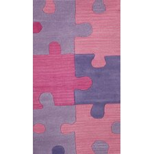 Abacasa Kids Puzzles Pink/Lavender Area Rug