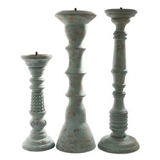 3 Piece Safari Lau Wood Candlestick Set