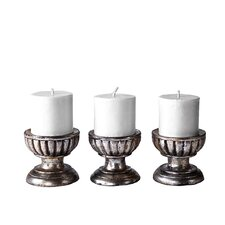 3 Piece Bella Wood Candlestick Set
