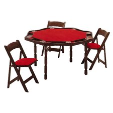 "57"" Maple Period Style Folding Poker Table Set"