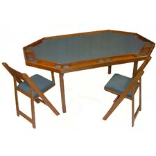 "72"" Oak Deluxe Folding Card and Poker Table Set"