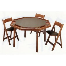 "<strong>Kestell Furniture</strong> 52"" Oak Contemporary Folding Poker Table Set"