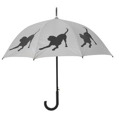 Dog Park Labrador Retriever Walking Silhouette Stick Umbrella