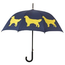 Dog Park Golden Retriever Walking Silhouette Stick Umbrella