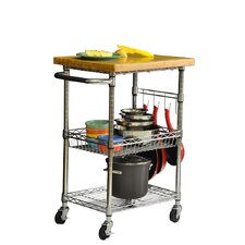 EcoStorage Kitchen Cart with Wood Top
