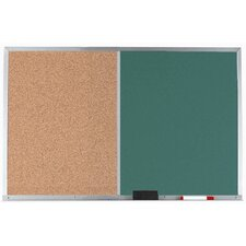 Combination Bulletin Board and Green Chalkboard with Aluminum Frame