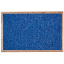 Designer Blue Fabric Bulletin Board with Wood Frame