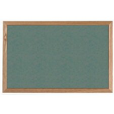 Green Vinyl Impregnated Cork Bulletin Board with Wood Frame